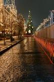 新年准备在莫斯科在晚上 图库摄影