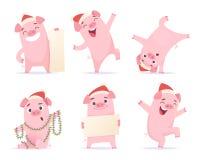 新年动画片猪 被隔绝的滑稽的2019个逗人喜爱的字符公猪肉猪小猪吉祥人传染媒介例证 皇族释放例证
