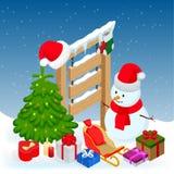 新年和圣诞快乐冬天背景 等量传染媒介例证 库存照片