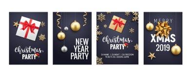 新年圣诞节贺卡背景飞行物或小册子设计 圣诞节假日横幅金装饰 向量例证