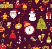 新年圣诞节黑暗的无缝的样式 图库摄影