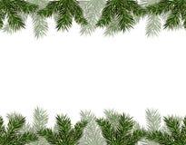 新年圣诞节 飞行物,名片,卡片,邀请 树绿色分支从上面和从下面 图库摄影