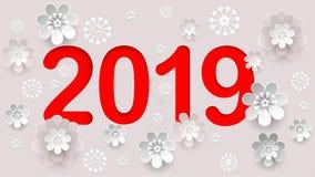 2019新年在中国日历的数字文本 库存照片