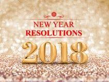 新年在金闪闪发光闪烁的决议2018 3d翻译 免版税库存图片