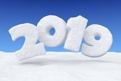 2019新年在雪的雪文本在蓝天下 向量例证