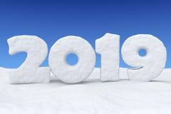 2019新年在雪的雪文本在蓝天下 皇族释放例证