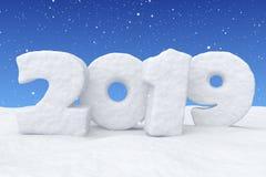 新年在雪的雪文本2019年在降雪下 向量例证