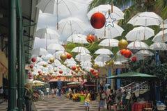 新年城市` s家具在热带 路易斯・毛里求斯端口 库存照片