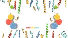 新年好五彩纸屑和金子计时庆祝 Colorfull问候装饰 免版税库存图片