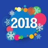 2018新年好创造性的横幅色环和雪模板 免版税库存照片