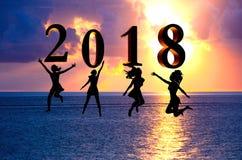 新年好卡片2018年 现出轮廓跳跃在海的热带海滩和2018数字的少妇有日落背景 库存照片