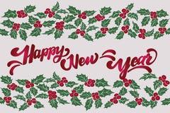 新年好现有量字法 圣诞节霍莉叶子 叶子和莓果的无缝的样式 皇族释放例证