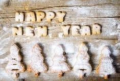 新年好笔记写用曲奇饼 免版税库存照片