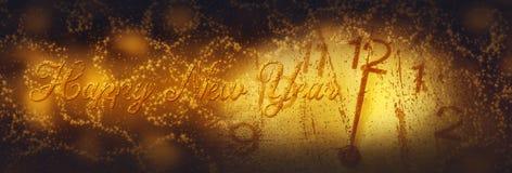 新年好 与拨号盘时钟的冬天庆祝在夜空 库存图片