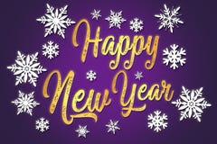 新年好 与雪花的印刷背景 原始 免版税库存照片