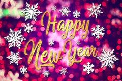 新年好 与雪花的印刷背景 郁金香 模板,卡片,海报 象征图表 免版税库存照片