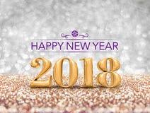 新年好2018个年在闪耀的数字3d翻译去 库存图片