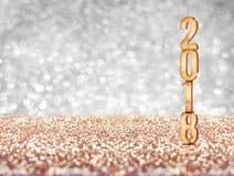新年好2018个年在闪耀的数字3d翻译去 免版税库存照片