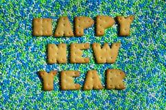 新年好 从可食的信件的词在gla说谎 免版税库存图片