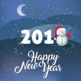 新年好 传染媒介文本书法书信设计卡片模板 PF 2018年 逗人喜爱的雪人和xmas帽子在雪圣诞节wint 库存照片
