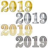 新年好 套2019文本设计样式 也corel凹道例证向量 背景查出的白色 免版税图库摄影
