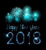 新年好2018年写与闪闪发光烟花 免版税图库摄影