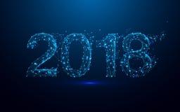 新年好2018年和三角,在蓝色背景的点连接的网络 库存照片