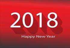 2018新年好 2018年在红色背景 向量例证