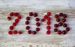 新年好2018年莓果老白色木背景 图库摄影