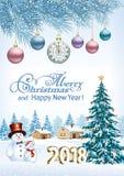 新年好2018年 与雪人的圣诞树 免版税图库摄影