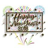 新年好2018年 圣诞节 手书法印刷术和烟花 免版税库存图片