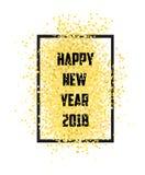 新年好 金子闪烁2018年 金黄在白色背景 图库摄影