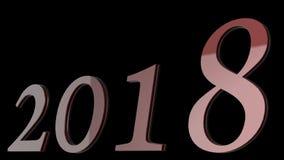 新年好2018 3d与清楚的背景颜色的文本设计 图库摄影