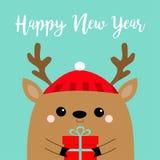 新年好 raindeer鹿顶头面孔藏品礼物盒 红色帽子,鼻子,垫铁 快活的图片