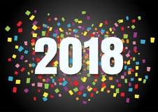 新年好2018文本与五颜六色的五彩纸屑的形状设计在梯度黑色背景 库存例证