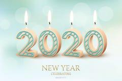 2020新年庆祝水平的设计观念 导航2020个灼烧的蜡烛和新年庆祝文本  向量例证