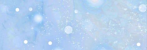 新年度 圣诞节 与落的雪的软的蓝色背景 免版税库存图片