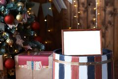 新年度 框架 礼品 圣诞节内部 圣诞节我的投资组合结构树向量版本 免版税库存图片