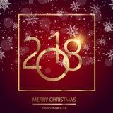 新年快乐与光亮的金文本的在红色背景的贺卡和雪 2018传染媒介 免版税库存照片