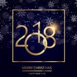 新年快乐与光亮的金文本的在黑背景的贺卡和雪 2018传染媒介 免版税库存图片