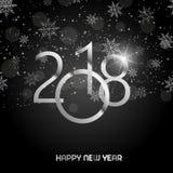 新年快乐与光亮的银色文本的在黑背景的贺卡和雪 2018传染媒介 库存图片