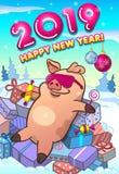 新年快乐与凉快的猪的贺卡在桃红色玻璃 库存例证