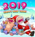 新年快乐与圣诞老人项目的在凉快的玻璃的贺卡和猪 库存例证