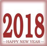 新年快乐与毛玻璃幻觉作用例证的2018年招呼的红色与梯度3D幻觉空间 库存图片