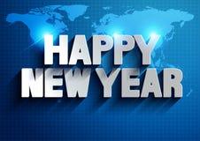 新年快乐世界地图背景 向量例证
