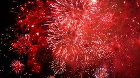新年快乐五颜六色的烟花 股票录像