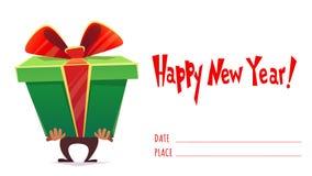 新年快乐假日庆祝问候明信片横幅卡片邀请,人举行大巨大的礼物盒惊奇withgreen丝带 库存例证