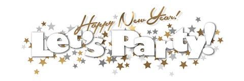 新年快乐党横幅金子和银 向量例证
