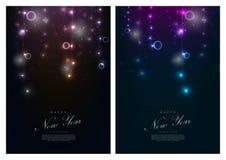 新年快乐冬天彩色小灯背景卡片模板vecto 皇族释放例证