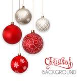 新年快乐和圣诞快乐与球传染媒介例证的冬天背景 免版税库存图片